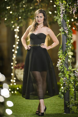 Heather strutting her stuff on The Bachelor