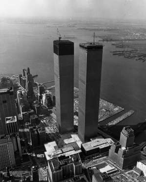 Aerial view of the Twin Towers of the World Trade Center during its construction in lower Manhattan, New York City, 1971.