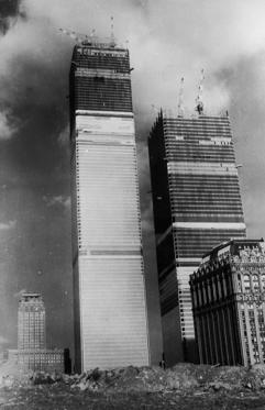 The World Trade Center (World Trade Centre) during its construction in New York.
