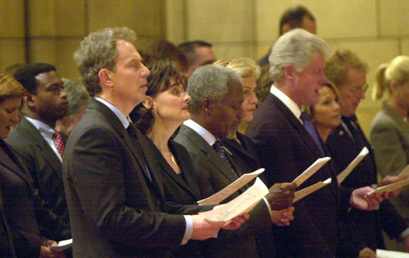 Prime Minister Tony Blair (C) and his wife Cherie with (L-R) UN Secretary General Kofi Annan, his wife Nane and former US President Bill Clinton, attending a service at the St Thomas Church in New York, held for the British victims of the terrorist attack. * on the World Trade Centre.