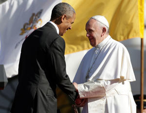 President Barack Obama shakes hands with Pope Francis after this welcoming speech during the state arrival ceremony on the South Lawn of the White House in Washington, Wednesday, Sept. 23, 2015.