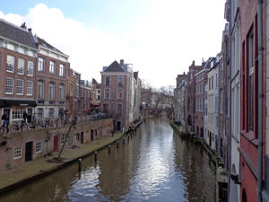 A view on one of the canals of the old city centre of Utrecht, in the Netherlands.