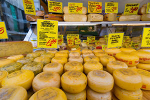 Great choice of cheese on the market in Amsterdam.