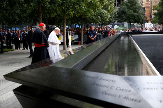 Pope Francis prays for the victims of the Sept. 11, 2001 terror attacks at the National September 11 Memorial & Museum in New York on Sept. 25, 2015.   Tony Gentile/Reuters