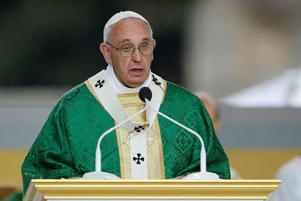 Pope Francis delivers his homily while celebrating Mass Sunday, Sept. 27, 2015, in Philadelphia.