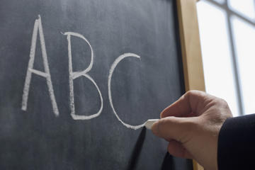 Teacher writing 'ABC' on chalkboard