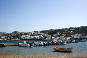 Boats moored in the waters off Mykonos, Greece.