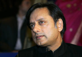 File: Indian author and Under-Secretary-General for the United Nations Shashi Tharoor pauses before the opening of the Frankfurt book fair, October 3, 2006.