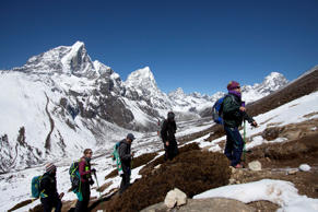 FILE - In this March 18, 2015 file photo, trekkers take an acclimatization hike ...