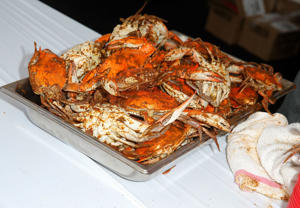 Seafood is displayed on a dish during Crab Cake LA.  The Nordic in Charlestown is also known for its seafood buffet.