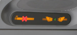 A generic picture of a no smoking and a fasten seatbelt sign on an aeroplane.