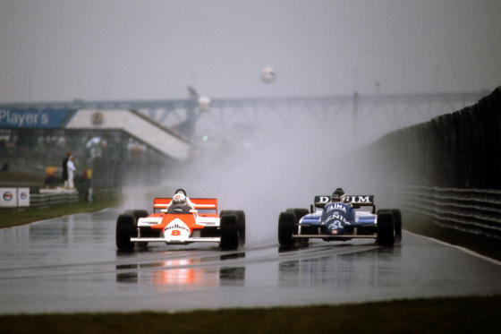 MONTREAL, QC - SEPTEMBER 27: Andrea de Cesaris #8 McLaren MP4-1 01/Ford Cosworth drives anlongside Jean-Pierre Jarier #32 Osella FA1C 001/Ford Cosworth during the 1981 Canadian Grand Prix on September 27, 1981, at the Circuit �?le Notre-Dame in Montreal, Quebec, Canada. (Photo by Bob Harmeyer/Archive Photos/Getty Images)