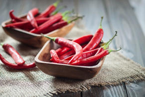 A bowl of red chili peppers.