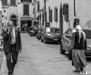 Walking amongst locals, Florence, Italy.