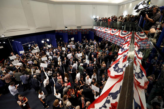 A general view of the spin room after the second official Republican presidential candidates debate.