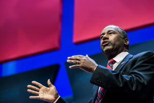 Republican presidential hopeful Ben Carson speaks to the crowd at the Heritage Action Presidential Candidate Forum September 18, 2015 in Greenville, South Carolina.