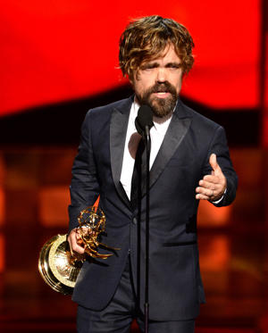 "Peter Dinklage accepts the award for outstanding supporting actor in a drama series for ""Game of Thrones"" at the 67th Primetime Emmy Awards on Sunday, Sept. 20, 2015, at the Microsoft Theater in Los Angeles."