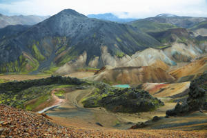 Multicolored mountains at Landmannalaugar, Iceland.