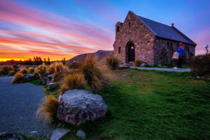 Beautiful sunset at Church of Good Shepherd, Tekapo,  New Zealand.