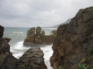 Pancake Rocks in Greymouth, New Zealand.