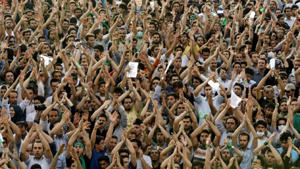 Hundreds of thousands of supporters of leading opposition presidential candidate Mir Hossein Mousavi protest in Tehran in 2009. (AP Photo/Ben Curtis)