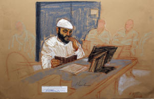 Yemeni Ramzi bin al Shibh appears at his arraignment as an accused 9/11 co-conspirator in this courtroom sketch reviewed and approved for release by a U.S. military security official, at Guantanamo Bay Navy Base, Cuba, May 5, 2012.