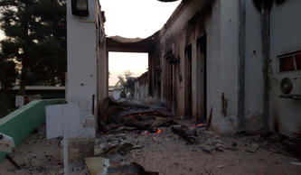 The burned Doctors Without Borders hospital is seen after explosions in the northern Afghan city of Kunduz, Saturday, Oct. 3, 2015.
