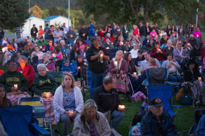 Residents of Douglas County attend a prayer service and candlelight vigil at River Bend Park to remember the victims of the mass shooting at Umpqua Community College in nearby Roseburg on October 3, 2015 in Winston, Oregon.