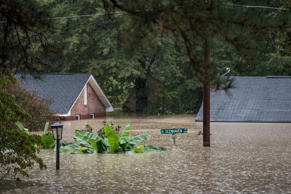 Homes are inundated by flood waters October 4, 2015 in Columbia, South Carolina....