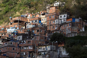 Homes are stacked on a hillside in the Rocinha favela in Rio de Janeiro, Brazil