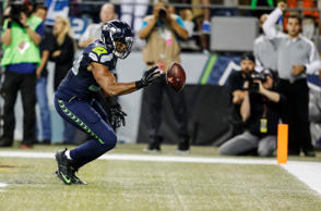 Linebacker K.J. Wright #50 of the Seattle Seahawks bats a loose ball out of the back of the end zone during the second half of a football game at CenturyLink Field on October 5, 2015 in Seattle, Washington. The Seahawks won the game 13-10.