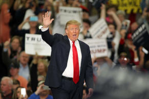 Republican presidential candidate Donald Trump waves during a campaign event at the Myrtle Beach Convention Center on Tuesday, Nov. 24, 2015, in Myrtle Beach, S.C.