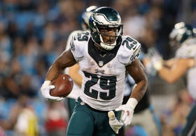 DeMarco Murray #29 of the Philadelphia Eagles runs with the ball against the Carolina Panthers during their game at Bank of America Stadium on October 25, 2015 in Charlotte, North Carolina.