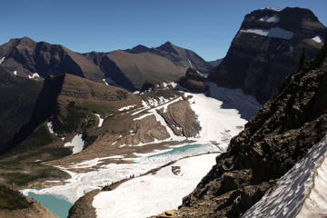 View from atop the Grinnell Glacier Overlook trail in Glacier National Park in Montana.