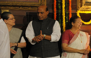 File: Congress President Sonia Gandhi, Home Minister Rajnath Singh, Lok Sabha Speaker Sumitra Mahajan during an event to pay tribute to Late Rajiv Gandhi on his 71st birth anniversary at Parliament House on August 20, 2015 in New Delhi, India. Rajiv Gandhi was born in 1944 and served as India's Prime Minister from 1984 to 1989.