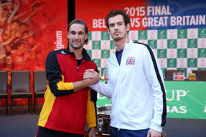Andy Murray of Great Britain (R) poses for a photograph with his opponent for th...