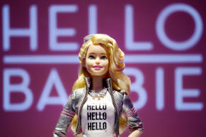 Hello Barbie is displayed at the Mattel showroom at the North American International Toy Fair, this year in New York. Mattel, in partnership with San Francisco startup ToyTalk, will release the  Internet-connected version of the doll that has real conversations with kids in late 2015.