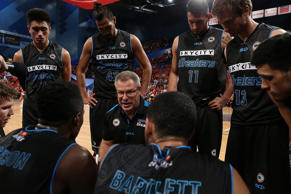 File: Dean Vickerman, coach of the Breakers addresses his players at a time-out during the round two NBL match between the Perth Wildcats and the New Zealand Breakers at the Perth Arena on October 16, 2015 in Perth.
