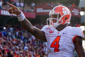 Clemson Tigers quarterback Deshaun Watson reacts after scoring a touchdown during the second half against the South Carolina Gamecocks at Williams-Brice Stadium.