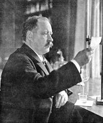 Swedish physicist and chemist Svante Arrhenius in his laboratory in 1909.