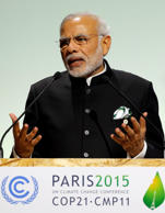 File: Indian Prime Minister Narendra Modi delivers a speech during the opening session of the World Climate Change Conference 2015 (COP21) at Le Bourget, near Paris, France, November 30, 2015.