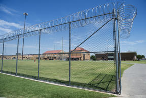 The prison yard at the El Reno Federal Correctional Institution in El Reno, Okla...