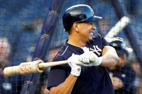 New York Yankees designated hitter Alex Rodriguez warms up before taking batting practice before the American League Wild card baseball game against the Houston Astros at Yankee Stadium in New York, Tuesday, Oct. 6, 2015.