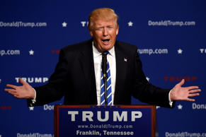 Republican presidential candidate Donald Trump speaks at an event, Saturday, Oct. 3, 2015, in Franklin, Tenn.