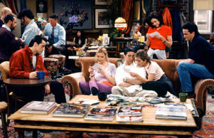 "FRIENDS -- ""The One Where Rachel Finds Out"" Episode 124 -- Pictured: (l-r) Matt LeBlanc as Joey Tribbiani, Lisa Kudrow as Phoebe Buffay, David Schwimmer as Ross Geller, Jennifer Aniston as Rachel Green, Courteney Cox as Monica Geller, Matthew Perry as Chandler Bing -- (Photo by: Alice S. Hall/NBC/NBCU Photo Bank)"