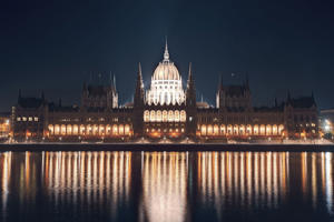 Parliament building on the Danube riverbank in central Budapest.