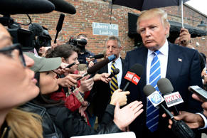 Donald J. Trump answered questions from reporters after an event in Franklin, Tenn., on Saturday.