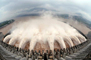Water is discharged from the Three Gorges Dam to lower the level in its reservoi...