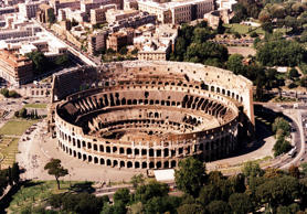 This is an undated aerial view of the Colosseum in Rome, Italy. The Colosseum is among the leading contenders to be the new seven wonders of the world as a massive poll enters its final month with votes already cast by more than 50 million people, organizers say. The seven winners will be announced July 7, 2007 in Lisbon, Portugal. (AP Photo)
