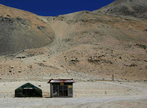 The world's highest post office stands near the base camp of Mount Everest, also known as Qomolangma, in the Tibet Autonomous Region April 29, 2008. The post office services around 30 customers a day, and is only open for seven months of the year between April and October.